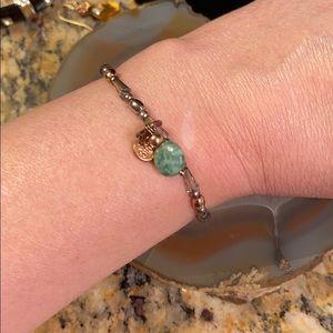 Biba stretch bracelet w green stone & beads GUC